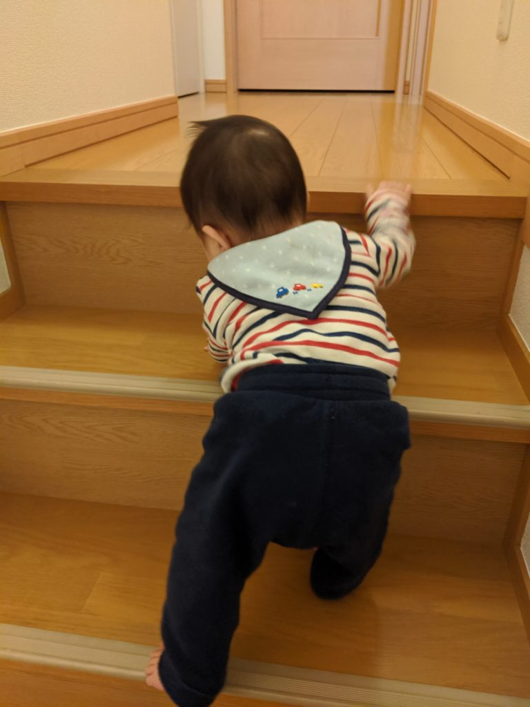 階段を登る0歳児